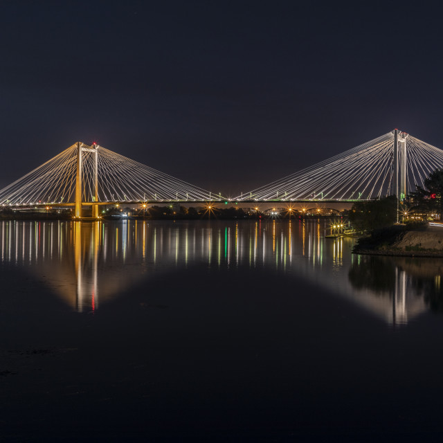 """Cable bridge nights"" stock image"