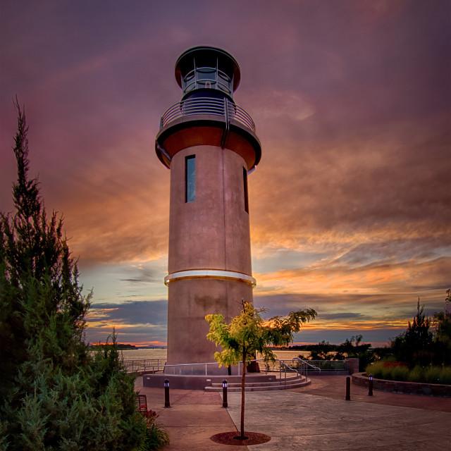 """""""Lighthouse sunset"""" stock image"""