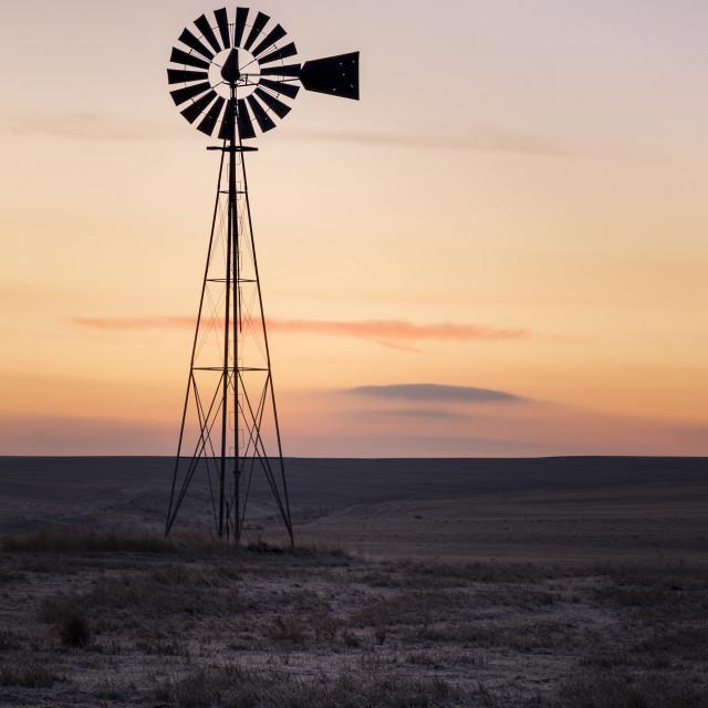 """Windmill sunrise"" stock image"