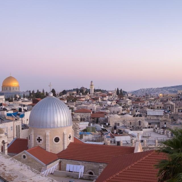 """""""View of Old Jerusalem from the roof of the Austrian Hospice, Jerusalem, Israel"""" stock image"""