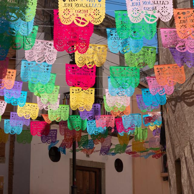 """Papel Picado festive paper flags, Guanajuato, Mexico"" stock image"