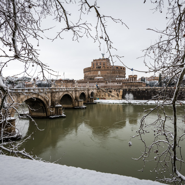 """Castel Sant'Angelo under snow"" stock image"