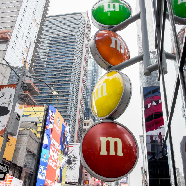 """""""M and M store sign, Times Square, New York."""" stock image"""
