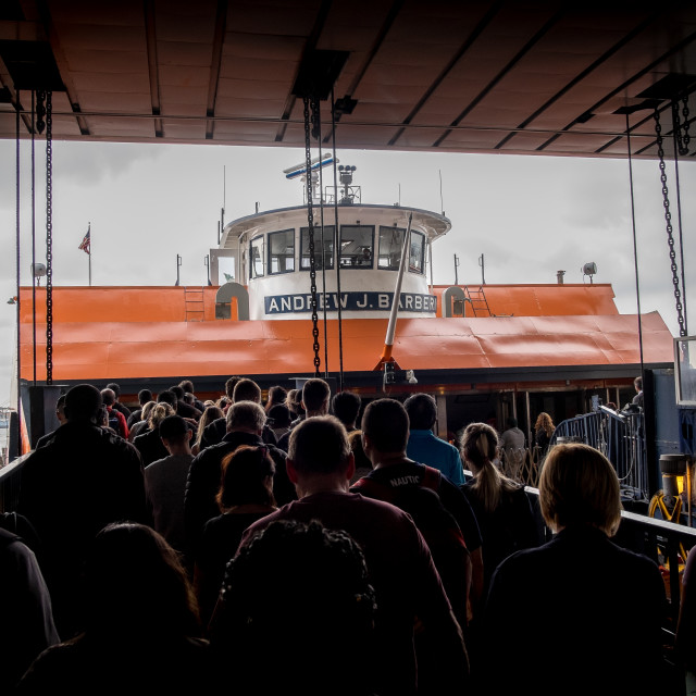 """""""Boarding the Staten Island Ferry"""" stock image"""