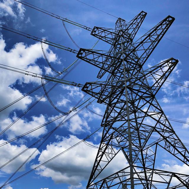 """Electricity pylon in Burwell, Cambridgeshire"" stock image"