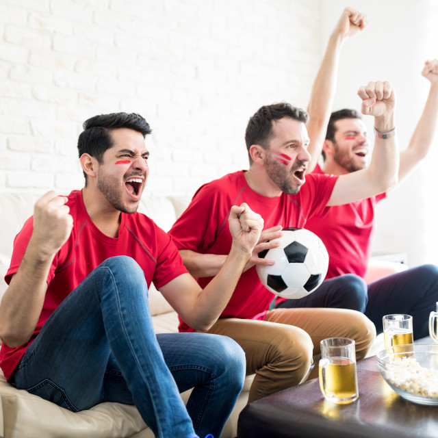 """""""Fans On Cloud Nine As Their Team Wins The Match"""" stock image"""