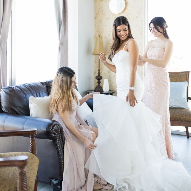 """""""Pleasant Women Helping Friend Getting Ready For Her Marriage"""" stock image"""