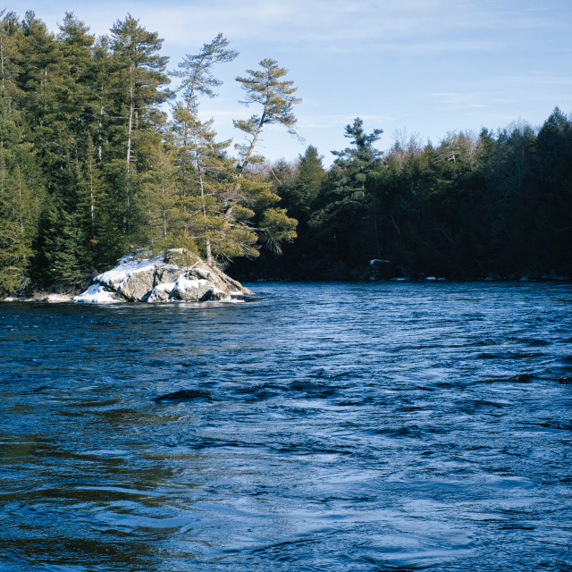 """""""Madawaska River rapids in winter"""" stock image"""