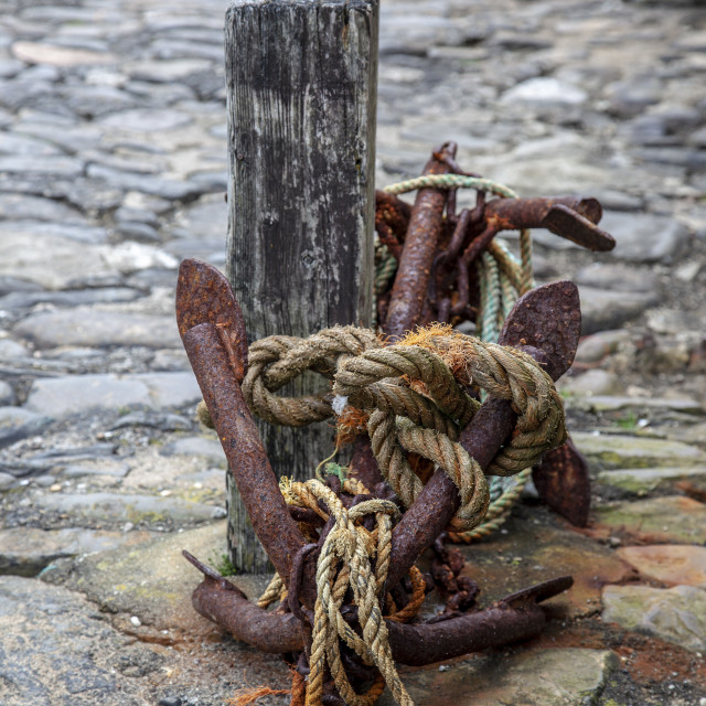 """""""Anchor, Clovelly Harbour"""" stock image"""