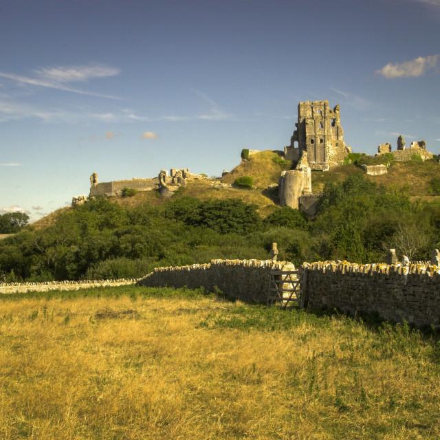 """Corfe Castle"" stock image"