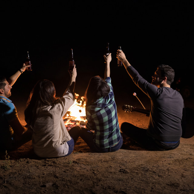 """""""Pals Enjoying Bonfire Party With Beer"""" stock image"""