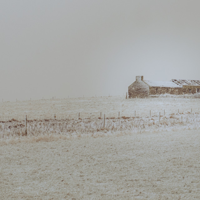 """""""Cottage in a snowstorm"""" stock image"""