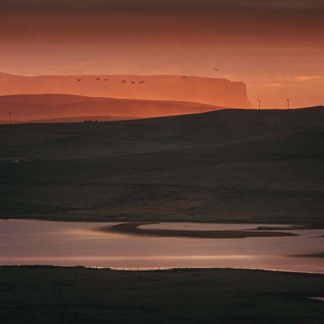 """Sunset over Marwick"" stock image"
