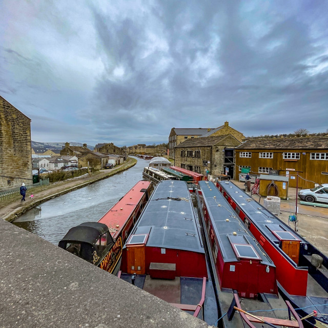 """""""Holiday Narrowboat/Barge Moored on the Leeds and Liverpool Canal at Silsden (Cobbydale) Yorkshire, England, Photographed 14th February 2021"""" stock image"""