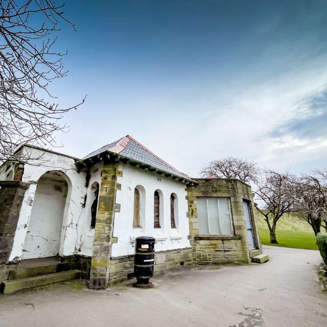 """Pavilion, Silsden Park, Silsden, Cobbydale, Yorkshire, England."" stock image"