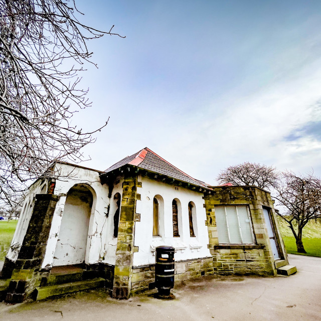 """Pavilion, Silsden Park, Cobbydale, Yorkshire, England."" stock image"