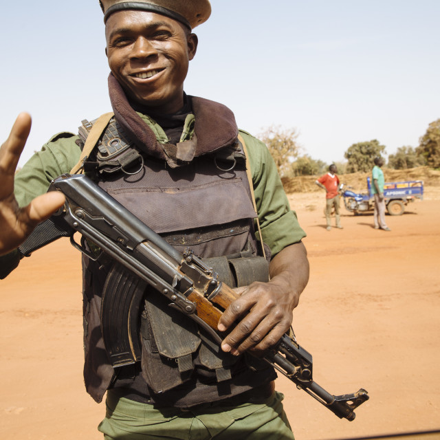 """Soldier with riffle in Burkina Faso"" stock image"