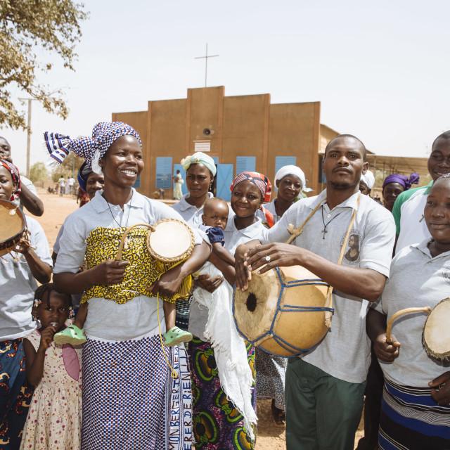 """""""Catholic Mass on Sunday in Burkina Faso"""" stock image"""