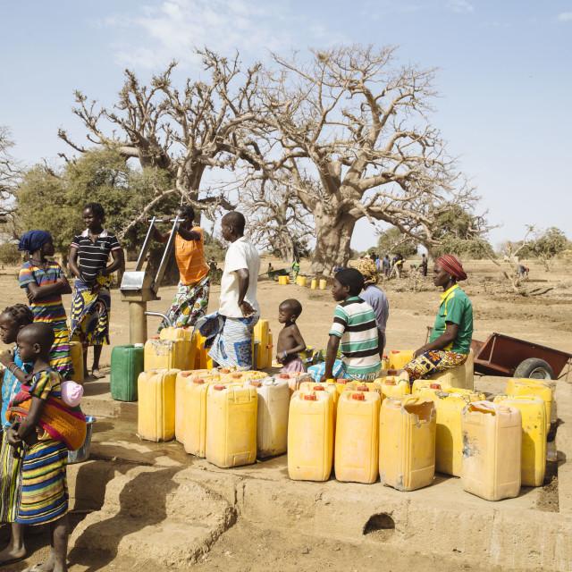 """well at Baobab Tree in Burkina Faso"" stock image"