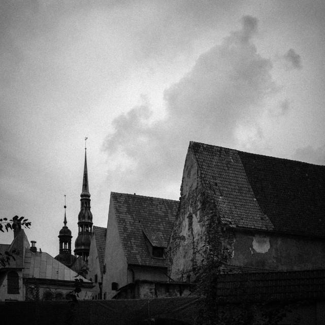 """Moody Eastern European village scene in Riga, Latvia."" stock image"
