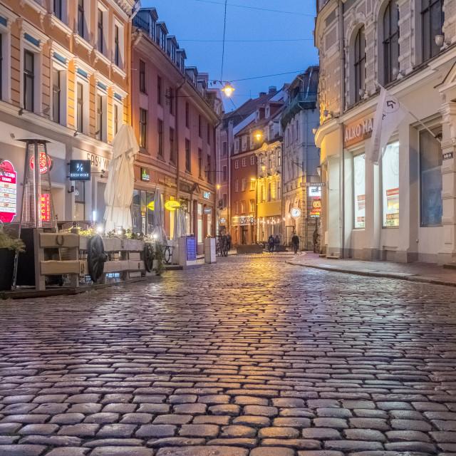 """Evening street scene in the Old City of Riga, Latvia."" stock image"