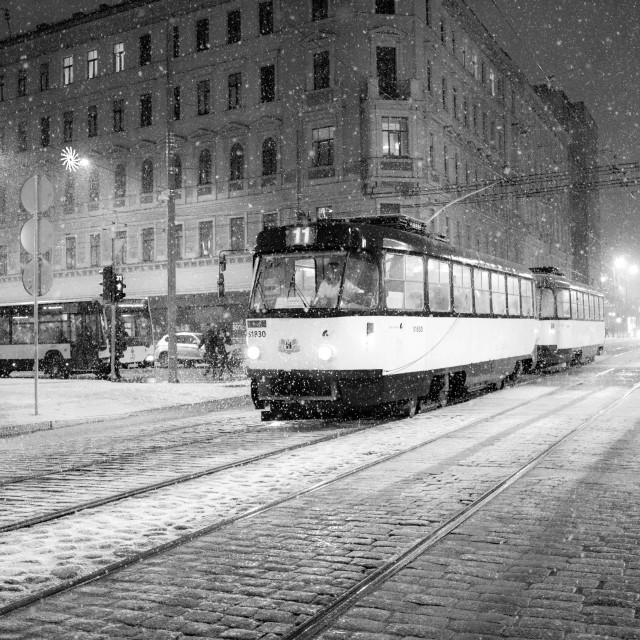 """Trolley in Vecrīga, the Old City of Riga, Latvia."" stock image"