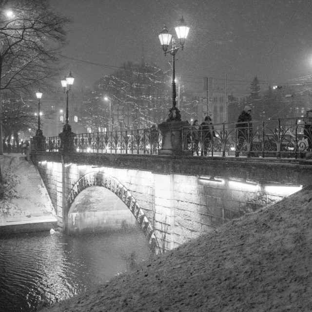 """Bridge spanning the Riga City Canal in Vecrīga, the Old City of Riga, Latvia."" stock image"