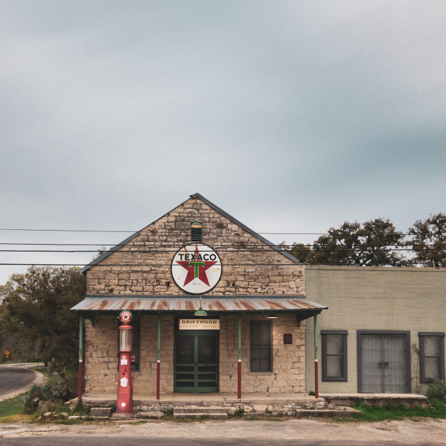 """""""Exterior of vintage Texaco gas station in Driftwood, Texas, USA"""" stock image"""