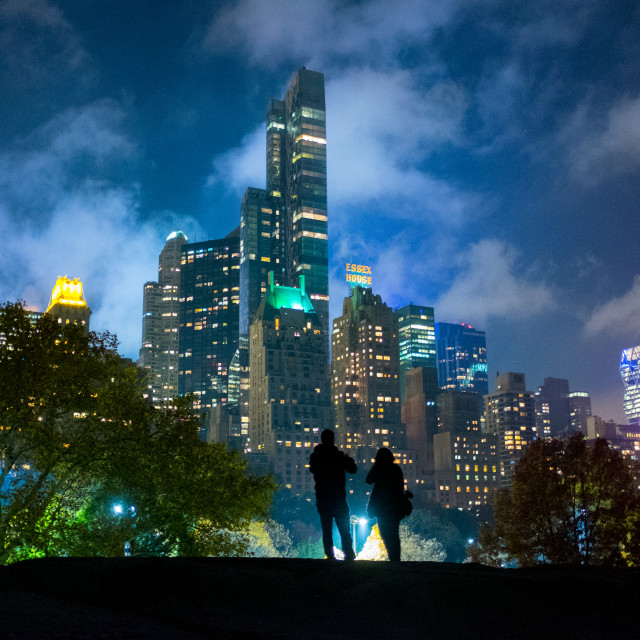 """""""View of Manhattan at night from Central Park, New York, USA"""" stock image"""