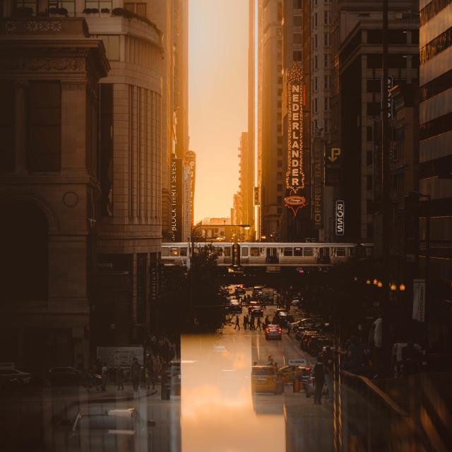 """Chicago Sunset Reflections"" stock image"