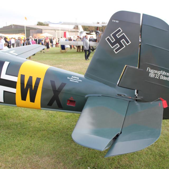"""""""Tail of a Messerschmitt BF108"""" stock image"""