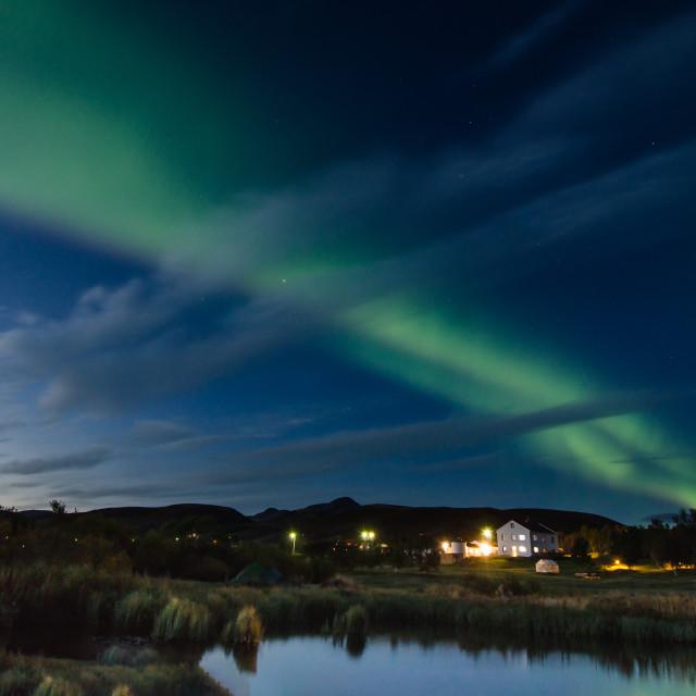 """""""Aurora borealis over Myvatn lake, Iceland"""" stock image"""