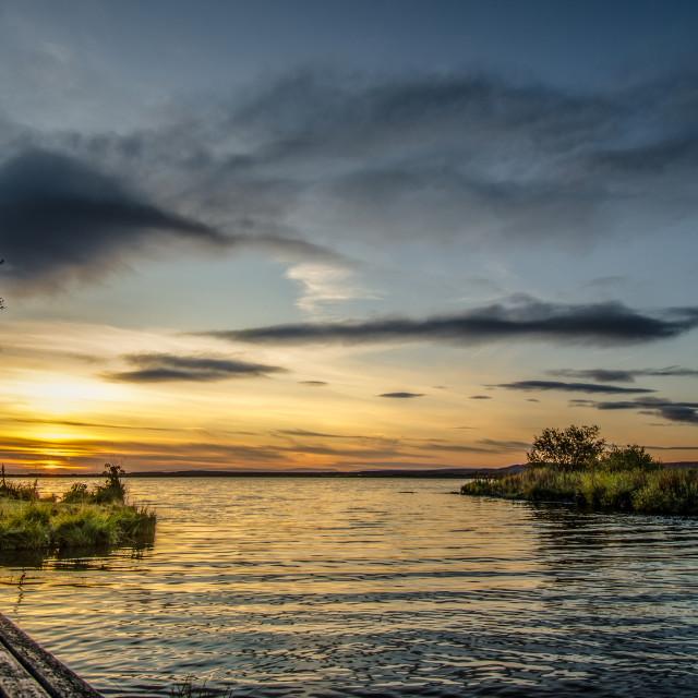 """""""Sunset over Myvatn lake, Iceland"""" stock image"""