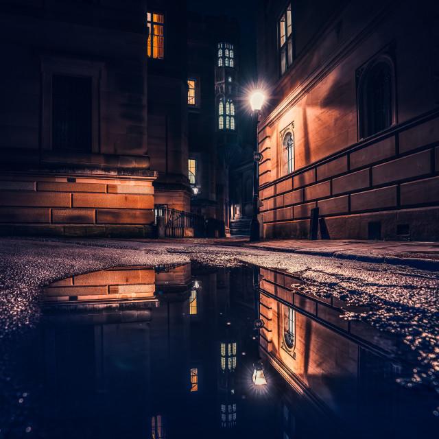 """Night reflections from Trinity Lane, Cambridge UK."" stock image"