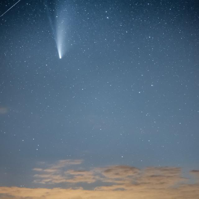 """""""Comet Neowise over Stonehenge, UK"""" stock image"""