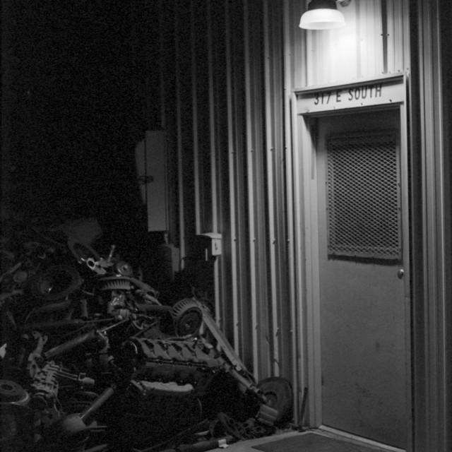 """""""Mechanic's Door B&W Version"""" stock image"""