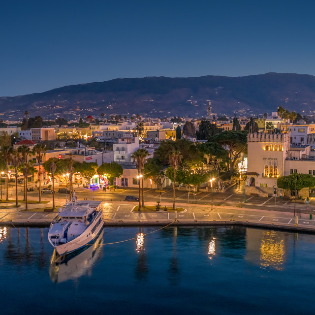 """Kos island harbor"" stock image"