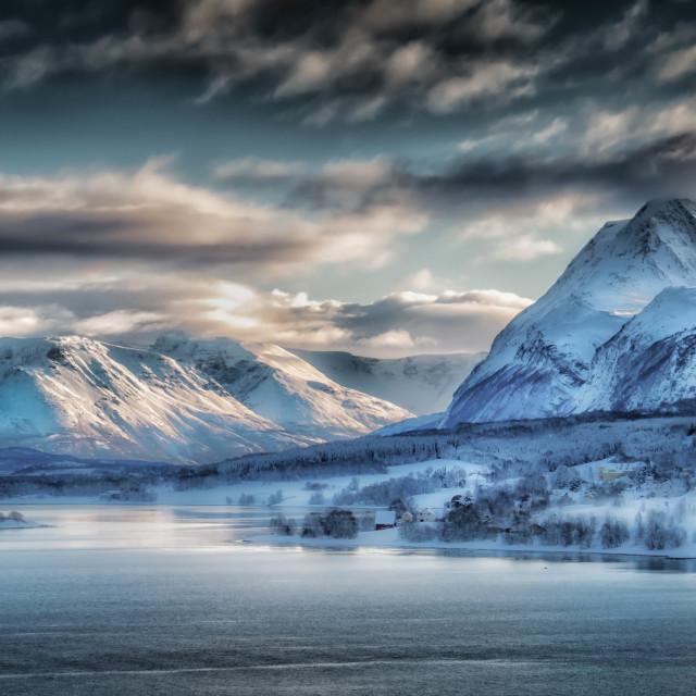 """Lyngen Alps Arctic Dawn"" stock image"