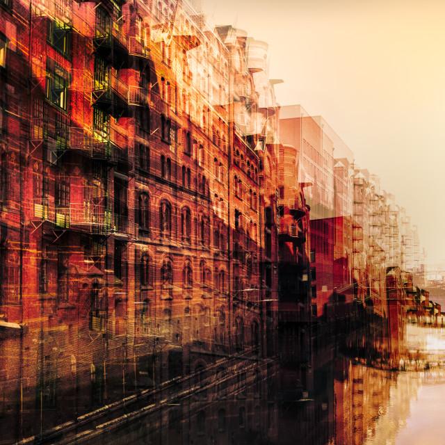 """""Blushing City"" - Artistic impression of buildings and bridges alongside the canals of Hamburg"" stock image"