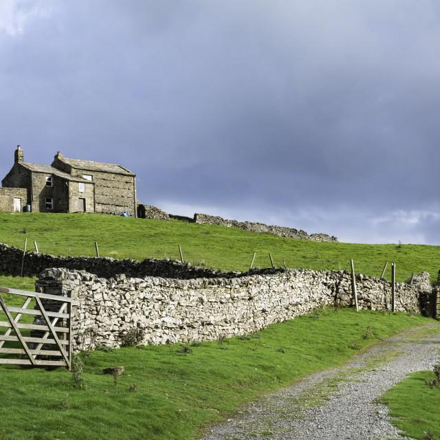 """""""Farmhouse on Kisdon"""" stock image"""