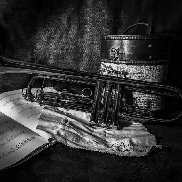 """""""Trumpet still life"""" stock image"""