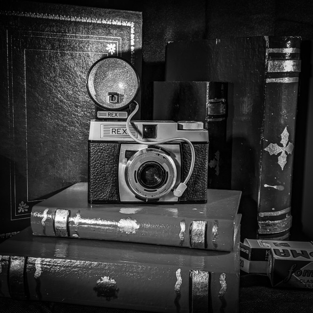 """""""Vintage camera with flash"""" stock image"""