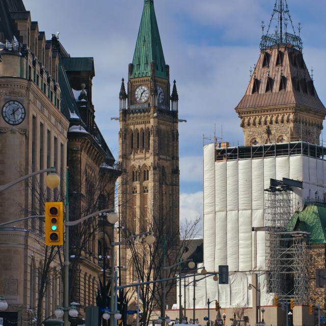 """Peace Tower over Elgin Street, Ottawa"" stock image"