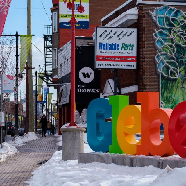 """The Glebe sign in Ottawa, Canada"" stock image"