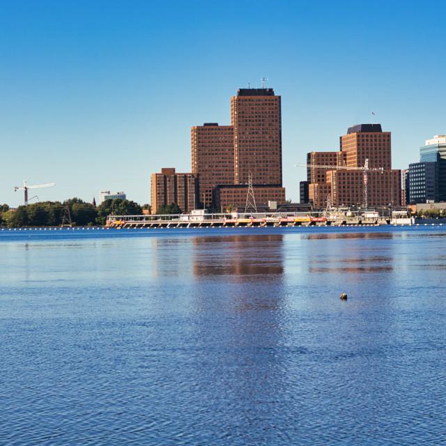 """Gatineau buildings across Ottawa River"" stock image"