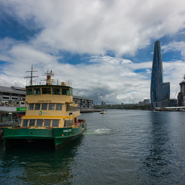 """Pyrmont Bay Ferry Pier"" stock image"