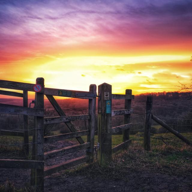 """Re edit sunrise Ivinghoe Beacon"" stock image"