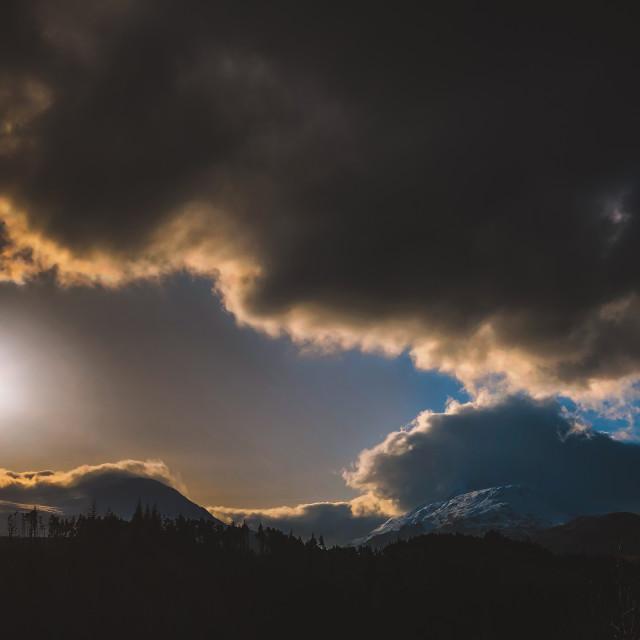 """Dark Winter Scene, Scottish Highlands"" stock image"