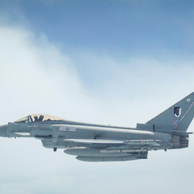 """RAF Typhoon airborne over the Atlantic"" stock image"