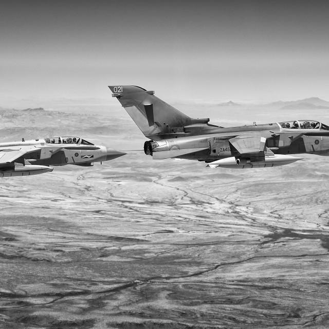 """RAF Tornado Davis Monthan in flight"" stock image"